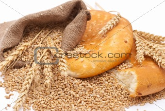 Bread a bag with wheat and ears
