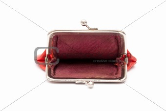 Old red purse against