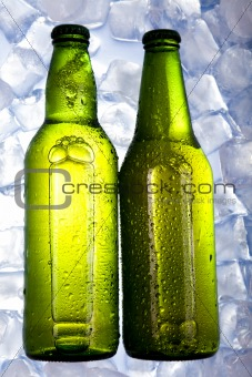 Three fresh beer with ice