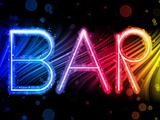 Bar Sign Abstract Colorful Waves on Black Background