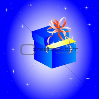 Box from under gift on turn blue background