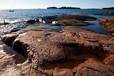 Rocky seashore in Helsinki Finland