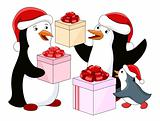 Penguin's family with gifts
