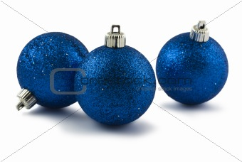 Three blue Christmas baubles