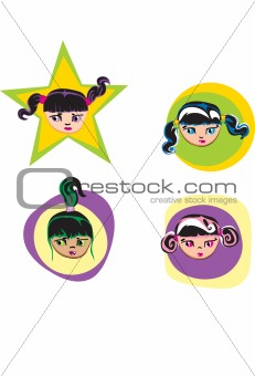 4 cartoon girl faces