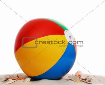 beach ball on beach sand