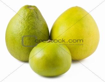 Three ripe pomelos