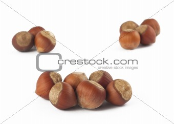 Three groups of haselnuts