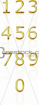 3d golden numbers with reflection