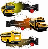 Three grunge banners with Yellow school buses. Vector illustrati