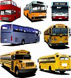 Seven city buses. Coach. School bus. Vector illustration for des