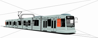 City transport. Tram. Vector illustration