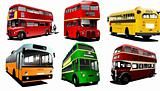 Six city buses. Coach. School bus. EPS10 Vector illustration for