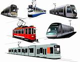 City transport. Six Trams. Vector illustration