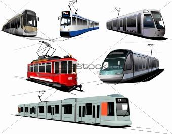 City transport. Six Trams. Vector illustration