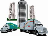 New Dormitory and two trucks. Vector illustration
