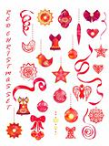 Red decorative Christmas, New Year set