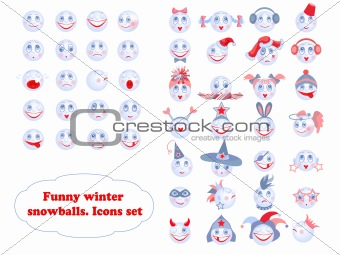 Funny winter snowballs icons set.