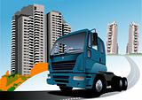 Dormitory and blue truck. Vector illustration