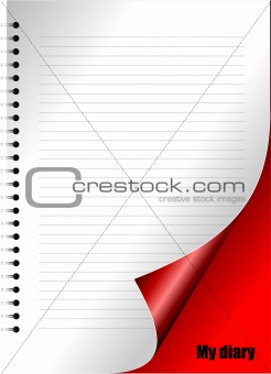 Dairy page with curl corner. Vector illustration