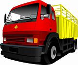 Vector illustration of red-yellow  truck