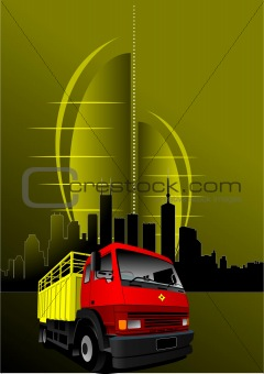 Abstract urban modern composition with red-yellow truck image. V