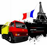 Cover for brochure with Paris image,  France flag and red-yellow