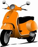 Orange city scooter. Vector illustration