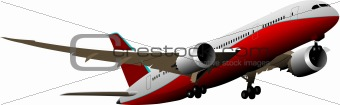 Airplane in flight. Vector illustration