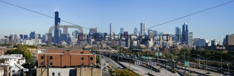 Panoramic view of Chicago from the south