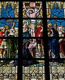 Jesus on the cross (1895). Stained glass church window in Alsemberg, Flanders.
