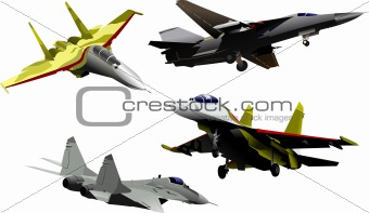 Four military aircrafts Vector illustration