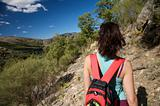 back red rucksack woman