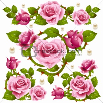Pink Rose design elements