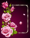 Vector pink rose and pearls frame. Design element.