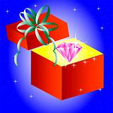 Openning gift box with jewels inwardly