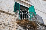Historic balcony. Bisceglie. Apulia.