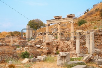 Ruins of columns in ancient city of Ephesus