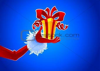 Santa hand with gift
