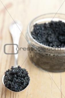 black caviar in spoon
