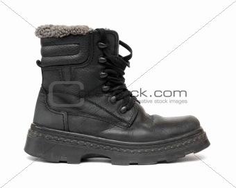 black leather winter shoe