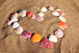 heart symbol from shells on sand