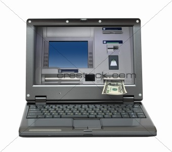 laptop with cash dispense on screen