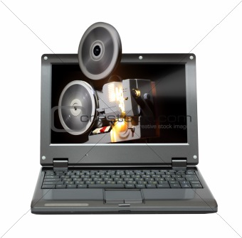 laptop with old projector