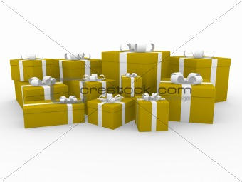 3d gold white gift box