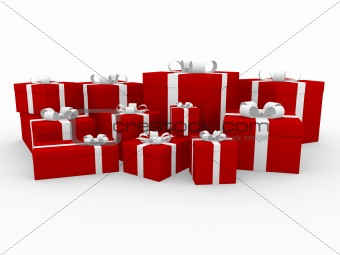 3d red white gift box