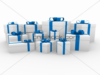 3d blue white gift box