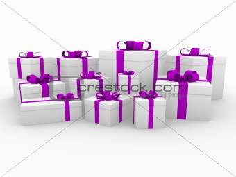 3d purple pink white gift box