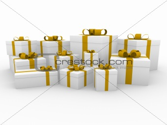 3d gold yellow white gift box