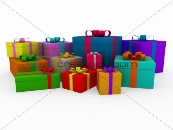 3d colorful white gift box